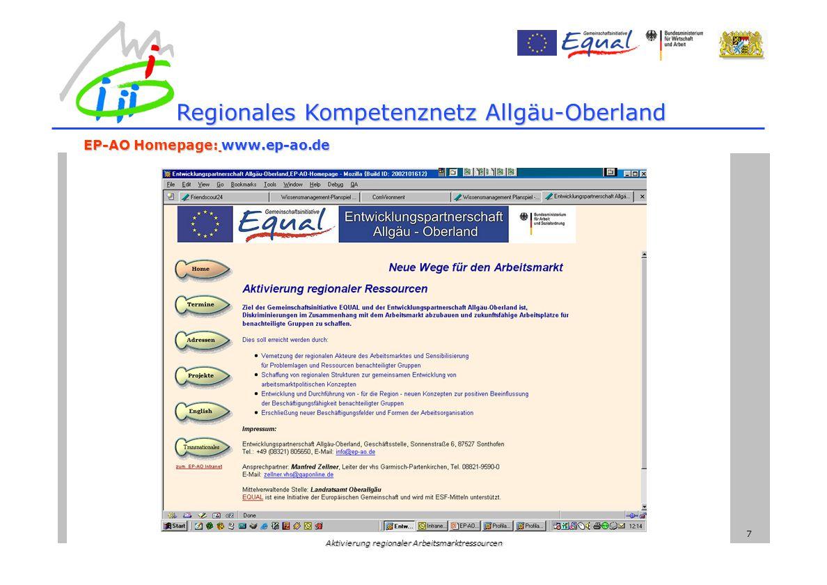 Aktivierung regionaler Arbeitsmarktressourcen 7 Regionales Kompetenznetz Allgäu-Oberland EP-AO Homepage: www.ep-ao.de