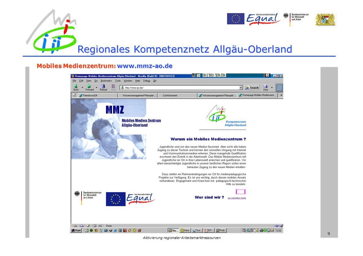 Aktivierung regionaler Arbeitsmarktressourcen 9 Regionales Kompetenznetz Allgäu-Oberland Mobiles Medienzentrum: www.mmz-ao.de