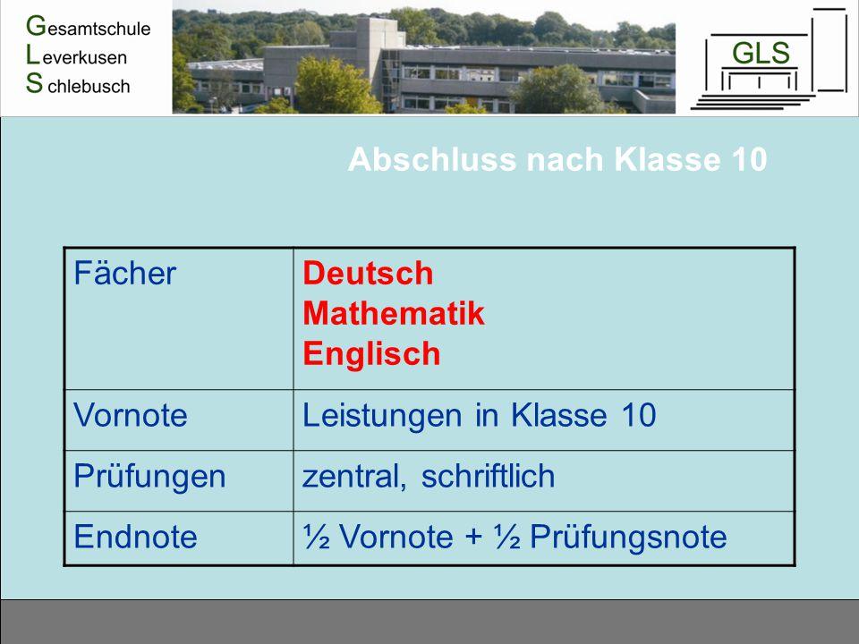 Abschluss nach Klasse 10 FächerDeutsch Mathematik Englisch VornoteLeistungen in Klasse 10 Prüfungenzentral, schriftlich Endnote½ Vornote + ½ Prüfungsn