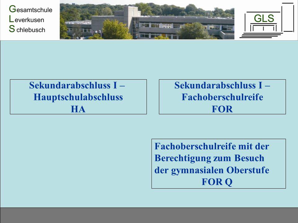 Sekundarabschluss I – Hauptschulabschluss HA Sekundarabschluss I – Fachoberschulreife FOR Fachoberschulreife mit der Berechtigung zum Besuch der gymna