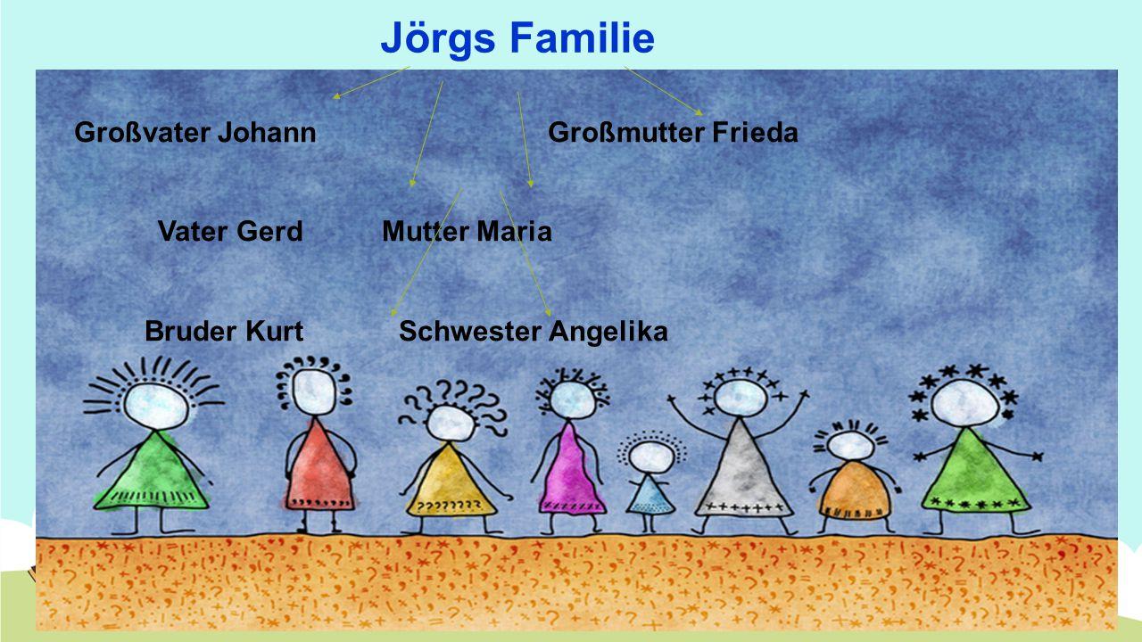 Jörgs Familie Großvater Johann Großmutter Frieda Vater Gerd Mutter Maria Bruder Kurt Schwester Angelika