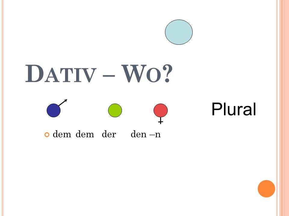 D ATIV – W O ? dem dem der den –n Plural