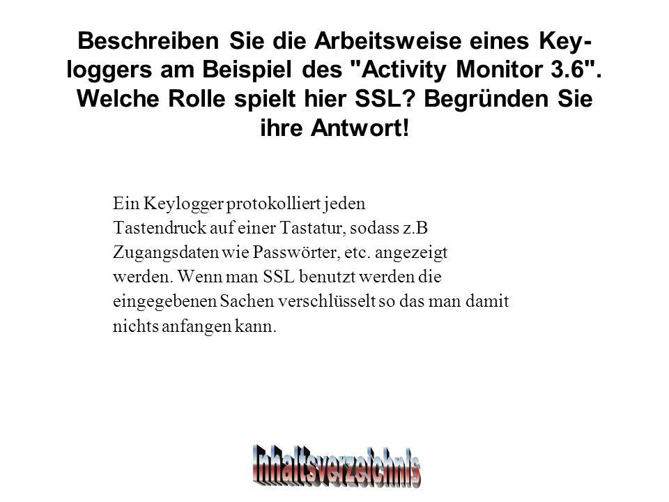 Beschreiben Sie die Arbeitsweise eines Key- loggers am Beispiel des Activity Monitor 3.6 .