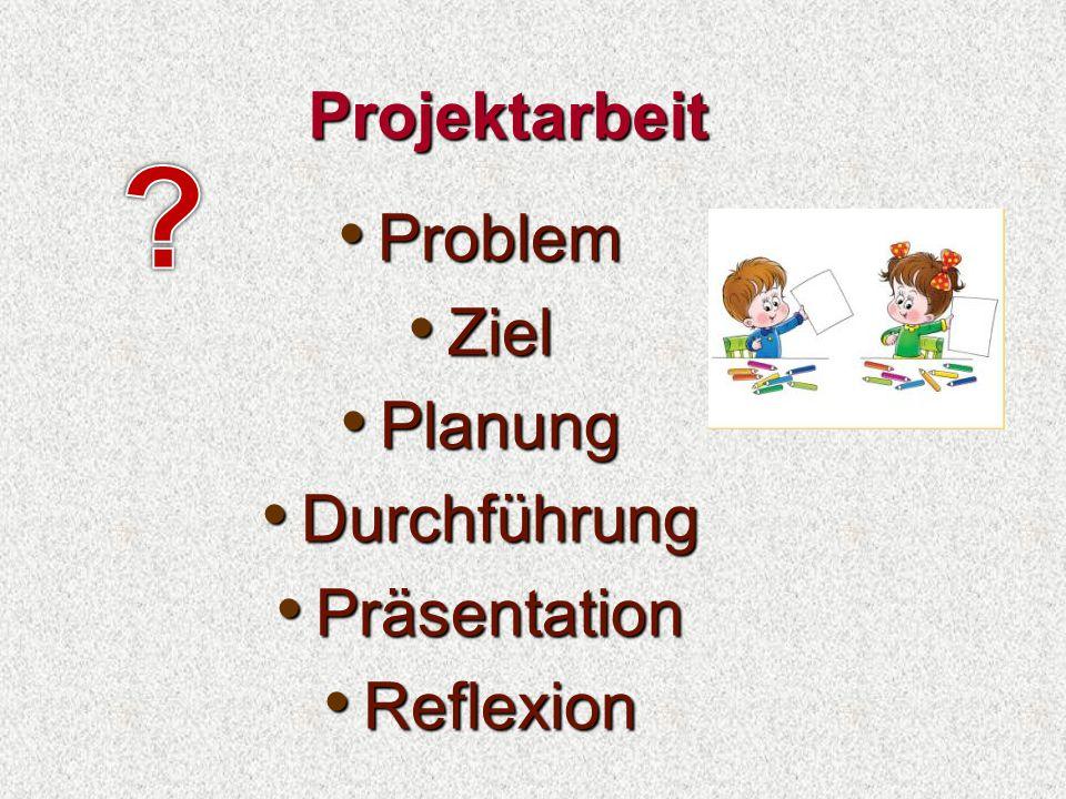 Projektarbeit Problem Problem Ziel Ziel Planung Planung Durchführung Durchführung Präsentation Präsentation Reflexion Reflexion