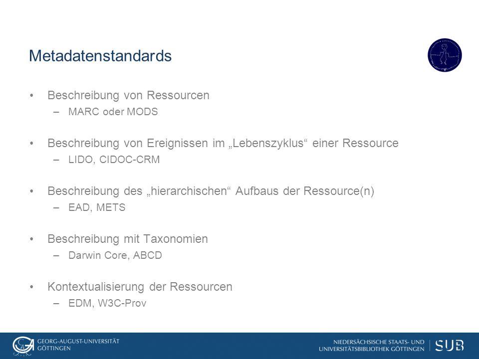 """Metadatenstandards Beschreibung von Ressourcen –MARC oder MODS Beschreibung von Ereignissen im """"Lebenszyklus"""" einer Ressource –LIDO, CIDOC-CRM Beschre"""