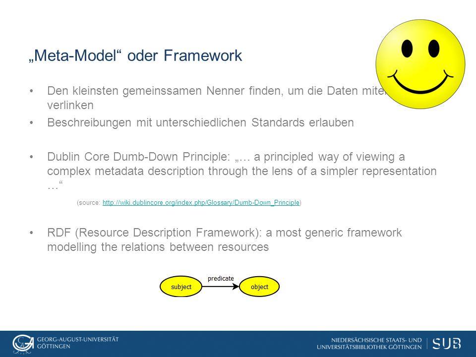 """""""Meta-Model"""" oder Framework Den kleinsten gemeinssamen Nenner finden, um die Daten miteinander zu verlinken Beschreibungen mit unterschiedlichen Stand"""
