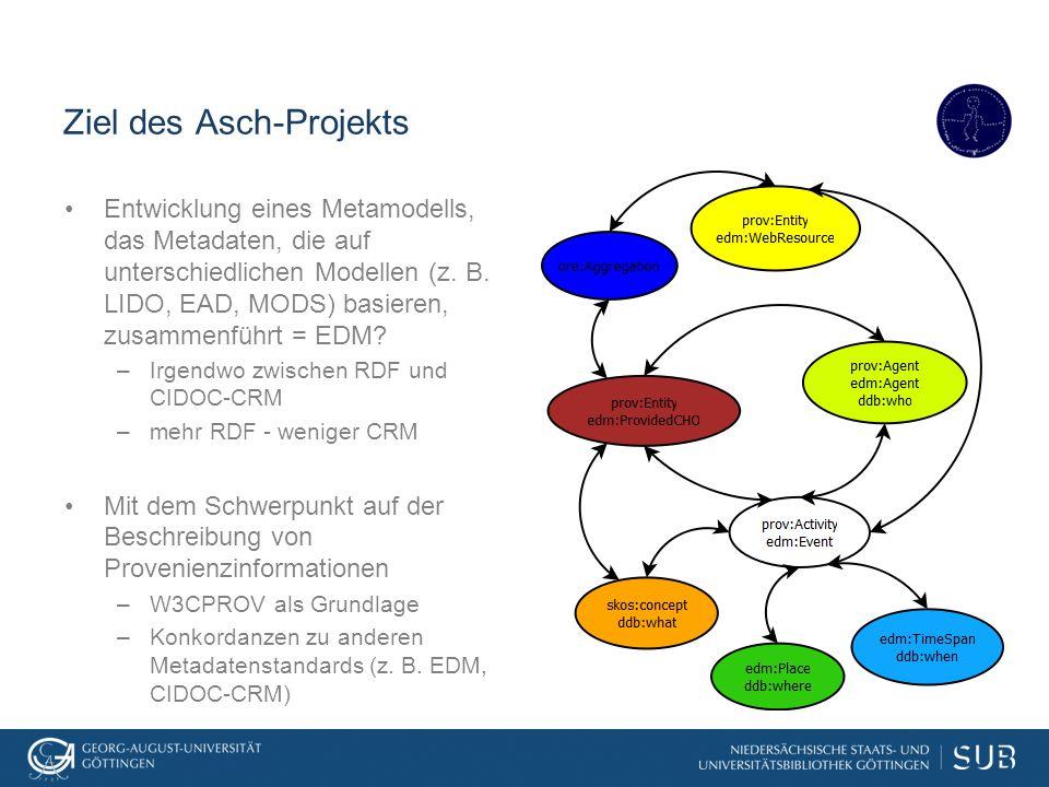 Ziel des Asch-Projekts Entwicklung eines Metamodells, das Metadaten, die auf unterschiedlichen Modellen (z. B. LIDO, EAD, MODS) basieren, zusammenführ