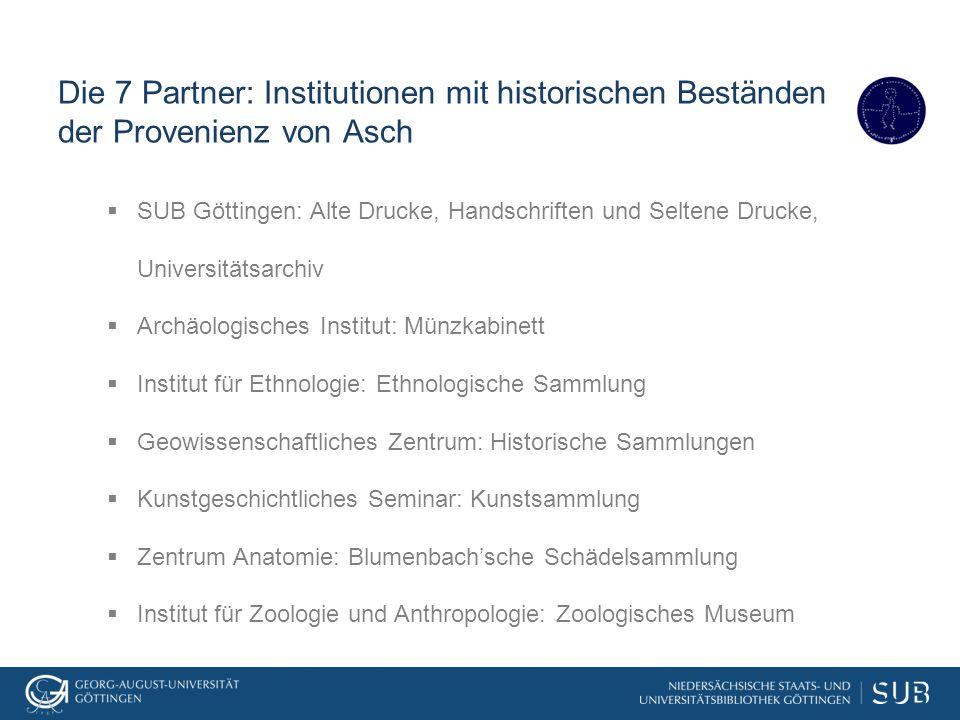 Die 7 Partner: Institutionen mit historischen Beständen der Provenienz von Asch  SUB Göttingen: Alte Drucke, Handschriften und Seltene Drucke, Univer