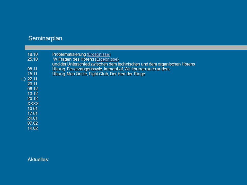 : Aktuelles: 18.10 Problematisierung (Ergebnisse) Ergebnisse 25.10 W-Fragen des Hörens (Ergebnisse) Ergebnisse und der Unterschied zwischen dem techni