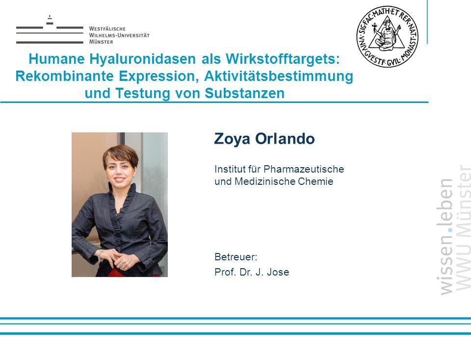 Name: der Referentin / des Referenten Humane Hyaluronidasen als Wirkstofftargets: Rekombinante Expression, Aktivitätsbestimmung und Testung von Substa