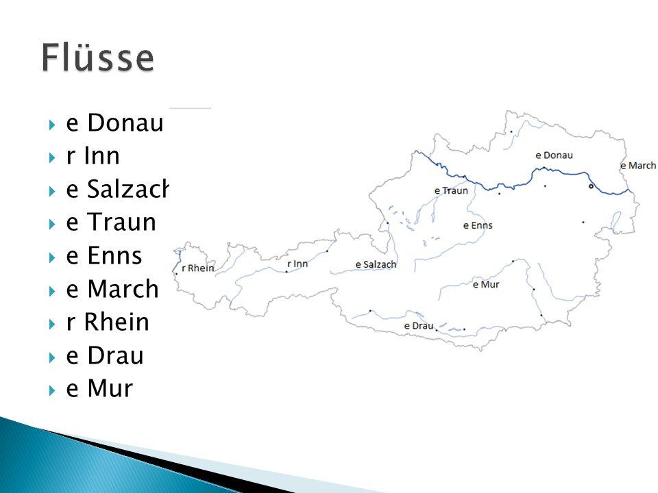  e Donau  r Inn  e Salzach  e Traun  e Enns  e March  r Rhein  e Drau  e Mur