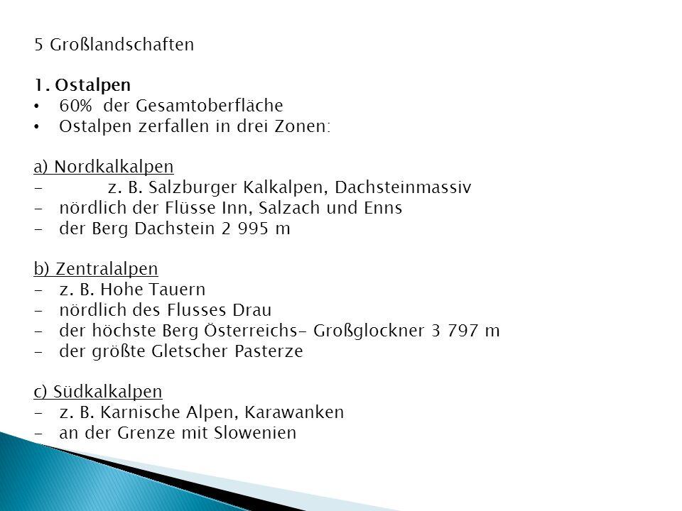 5 Großlandschaften 1. Ostalpen 60% der Gesamtoberfläche Ostalpen zerfallen in drei Zonen: a) Nordkalkalpen - z. B. Salzburger Kalkalpen, Dachsteinmass