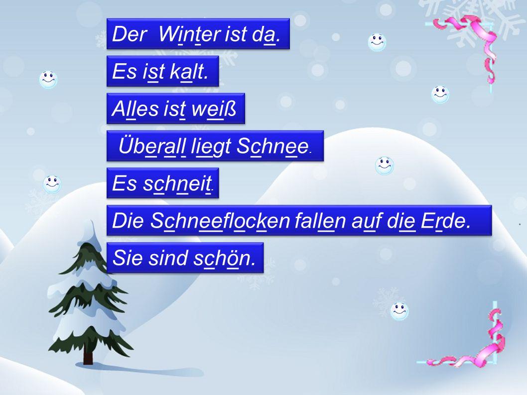 Der Winter ist da. Es ist kalt. Alles ist weiß Überall liegt Schnee. Es schneit. Die Schneeflocken fallen auf die Erde. Sie sind schön.