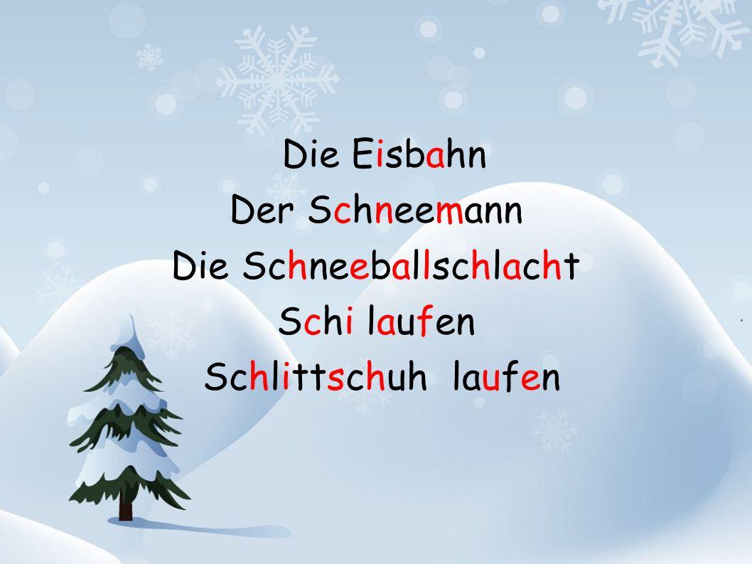 Die Eisbahn Der Schneemann Die Schneeballschlacht Schi laufen Schlittschuh laufen