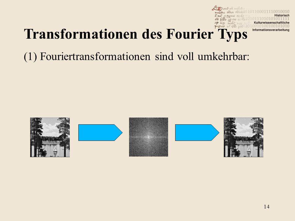 Transformationen des Fourier Typs 14 (1) Fouriertransformationen sind voll umkehrbar: