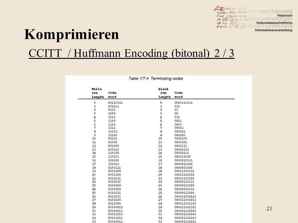 Komprimieren 21 CCITT / Huffmann Encoding (bitonal) 2 / 3