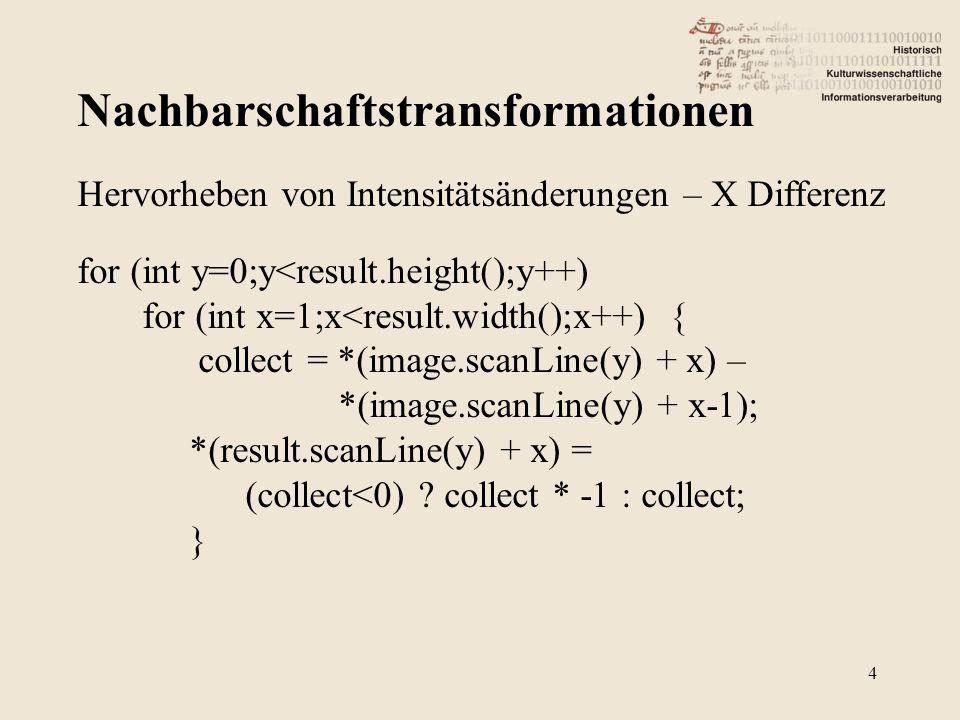 Nachbarschaftstransformationen 4 Hervorheben von Intensitätsänderungen – X Differenz for (int y=0;y<result.height();y++) for (int x=1;x<result.width();x++) { collect = *(image.scanLine(y) + x) – *(image.scanLine(y) + x-1); *(result.scanLine(y) + x) = (collect<0) .
