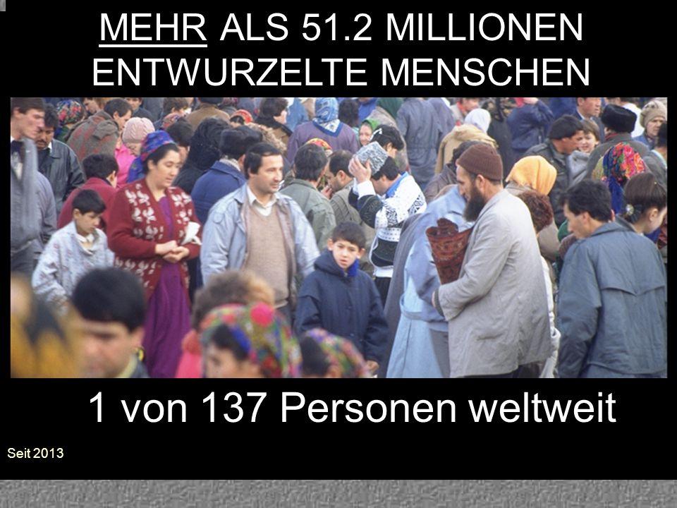 Foto: People International 1 von 137 Personen weltweit MEHR ALS 51.2 MILLIONEN ENTWURZELTE MENSCHEN Seit 2013