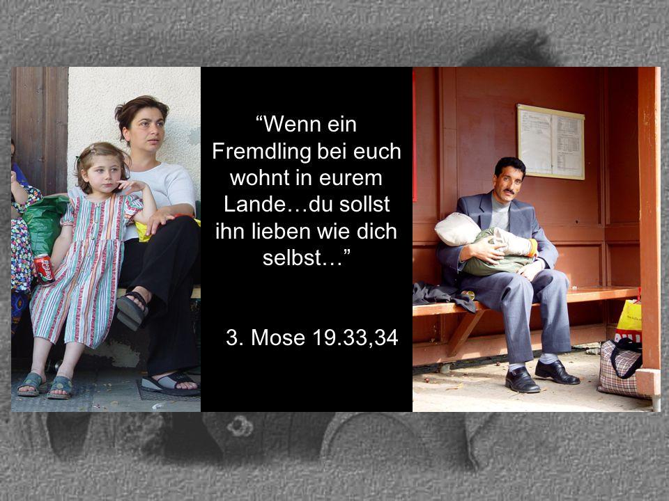 """""""Wenn ein Fremdling bei euch wohnt in eurem Lande…du sollst ihn lieben wie dich selbst…"""" 3. Mose 19.33,34 3. Mose 19.33,34"""
