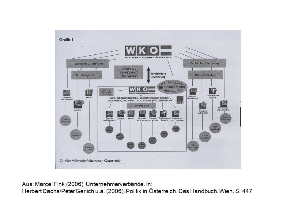 Aus: Marcel Fink (2006). Unternehmerverbände. In: Herbert Dachs/Peter Gerlich u.a. (2006). Politik in Österreich. Das Handbuch. Wien. S. 447