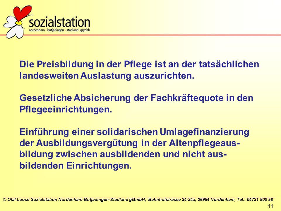 © Olaf Loose Sozialstation Nordenham-Butjadingen-Stadland gGmbH, Bahnhofstrasse 34-34a, 26954 Nordenham, Tel.: 04731 800 58 11 Die Preisbildung in der