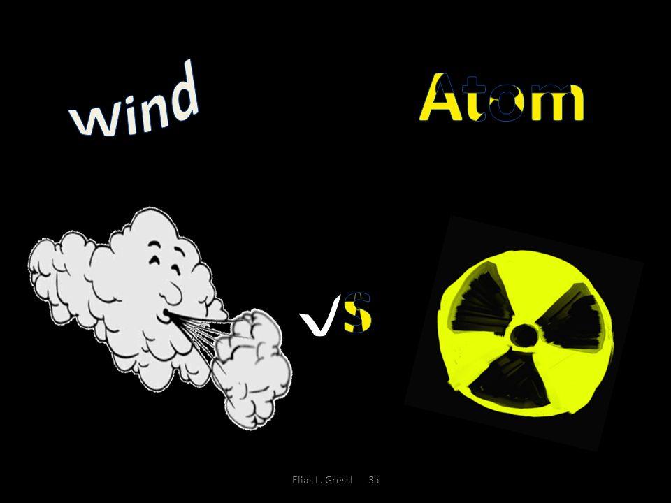 Atomkraft In Österreich gibt es 607 Windräder, in Deutschland 20.229 Die Windkraftwerke produzieren leider nicht sehr viel Strom Die Windkraftwerke versorgen 7% des gesamten Strom in Deutschland Wind Es gibt in Österreich kein Atomkraftwerk, in Europa gibt es 93 Atomkraftwerke, in 440 Atomkraftwerke (104 davon in den USA) Produziert sehr viel Strom Die Atomkraftwerke versorgen 20% des Stroms in Deutschland Elias L.
