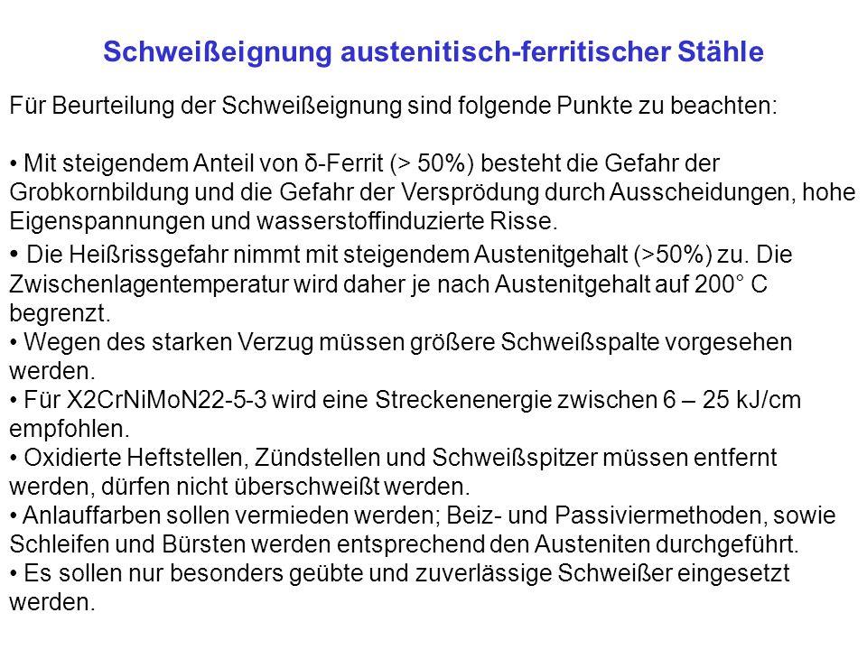 Schweißeignung austenitisch-ferritischer Stähle Für Beurteilung der Schweißeignung sind folgende Punkte zu beachten: Mit steigendem Anteil von δ-Ferri