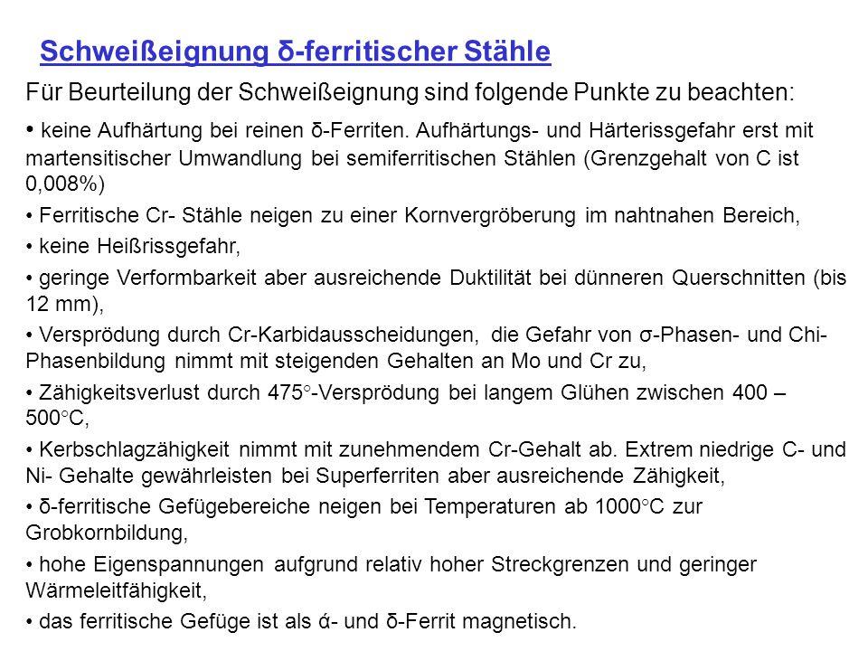 Schweißeignung δ-ferritischer Stähle Für Beurteilung der Schweißeignung sind folgende Punkte zu beachten: keine Aufhärtung bei reinen δ-Ferriten. Aufh