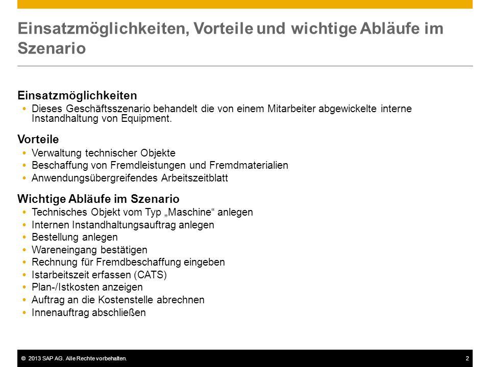 ©2013 SAP AG. Alle Rechte vorbehalten.2 Einsatzmöglichkeiten, Vorteile und wichtige Abläufe im Szenario Einsatzmöglichkeiten  Dieses Geschäftsszenari
