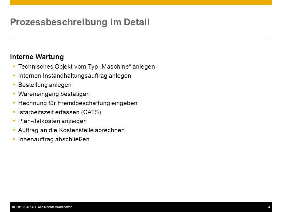 """©2013 SAP AG. Alle Rechte vorbehalten.4 Prozessbeschreibung im Detail Interne Wartung  Technisches Objekt vom Typ """"Maschine"""" anlegen  Internen Insta"""