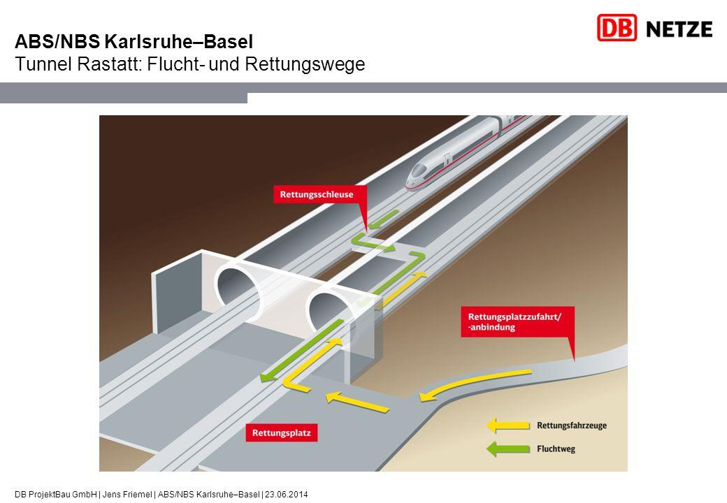DB ProjektBau GmbH | Jens Friemel | ABS/NBS Karlsruhe–Basel | 23.06.2014 ABS/NBS Karlsruhe–Basel Tunnel Rastatt: Flucht- und Rettungswege