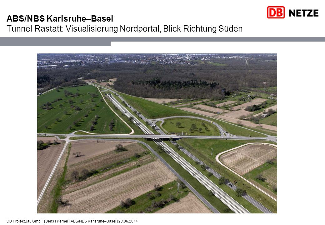 DB ProjektBau GmbH | Jens Friemel | ABS/NBS Karlsruhe–Basel | 23.06.2014 ABS/NBS Karlsruhe–Basel Tunnel Rastatt: Visualisierung Nordportal, Blick Rich
