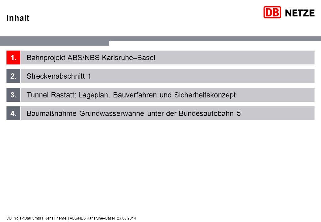 ABS/NBS Karlsruhe–Basel Europäische Dimension DB ProjektBau GmbH | Jens Friemel | ABS/NBS Karlsruhe–Basel | 23.06.2014 Ziele des Rheintalbahnausbaus Erhöhung der Streckenkapazität: Aufnahme prognostizierter Mehrverkehre aus der Neuen Eisenbahn-Alpentransversale (NEAT) Entmischung der Verkehre Fern-, Nah- und Güterverkehr Verbesserung für Reisende Fahrzeitverkürzung um 31 Minuten von ursprünglich 100 auf 69 Minuten Südlicher Anschluss Lötschberg-Basistunnel, seit 2007 in Betrieb Simplontunnel Gotthard-Basistunnel, vsl.