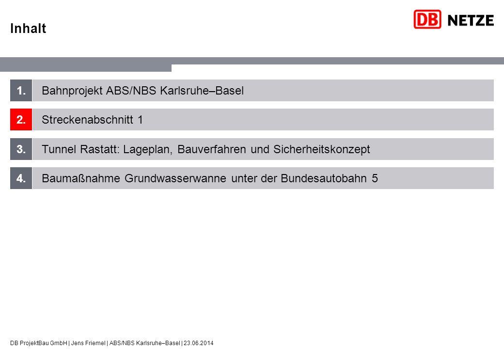 ABS/NBS Karlsruhe–Basel StA 1: Projektübersicht DB ProjektBau GmbH | Jens Friemel | ABS/NBS Karlsruhe–Basel | 23.06.2014 Vorgezogene Baumaßnahmen (im Zuge Neubau B36, 2002-2004) –2 Eisenbahnüberführungen –7 Straßenüberführungen –2 Brücken für Wirtschaftswege Noch zu realisierende Baumaßnahmen –2 Brückenbauwerke –Tunnel Rastatt (2-Röhren) –3 Grundwasserwannen (Nord, Süd, BAB A5) –8 km Schallschutzwände –12 km Schotteroberbau, 6 km Feste Fahrbahn –Ausrüstung, u.a.