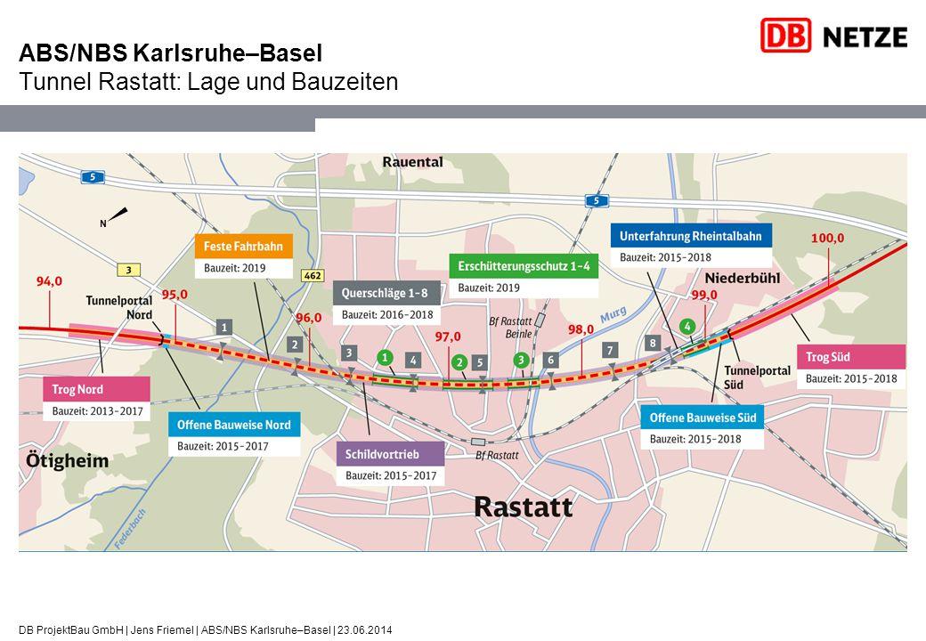 DB ProjektBau GmbH | Jens Friemel | ABS/NBS Karlsruhe–Basel | 23.06.2014 ABS/NBS Karlsruhe–Basel Tunnel Rastatt: Längsschnitt und Bauweisen Grundwasser- wanne Nord Offene Bauweise: 45 m Schildvortrieb (TVM): ca.