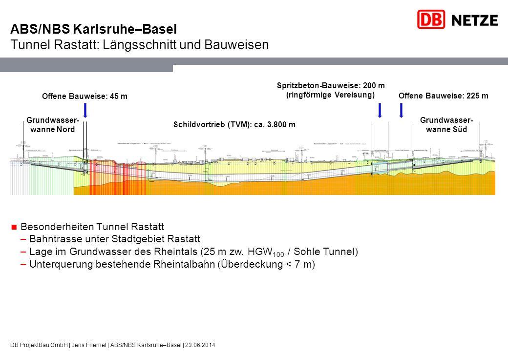 DB ProjektBau GmbH | Jens Friemel | ABS/NBS Karlsruhe–Basel | 23.06.2014 ABS/NBS Karlsruhe–Basel Tunnel Rastatt: Längsschnitt und Bauweisen Grundwasse