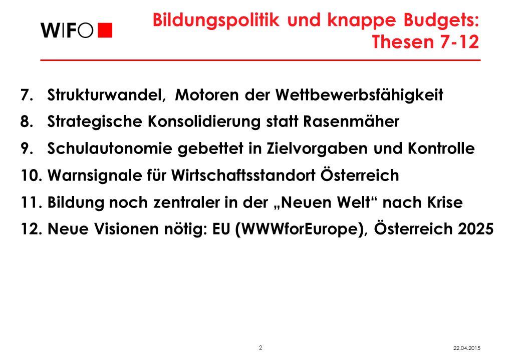 2 22.04.2015 Bildungspolitik und knappe Budgets: Thesen 7-12 7. Strukturwandel, Motoren der Wettbewerbsfähigkeit 8. Strategische Konsolidierung statt