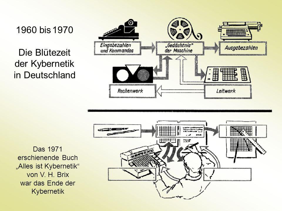 """1960 bis 1970 Die Blütezeit der Kybernetik in Deutschland Das 1971 erschienende Buch """"Alles ist Kybernetik"""" von V. H. Brix war das Ende der Kybernetik"""