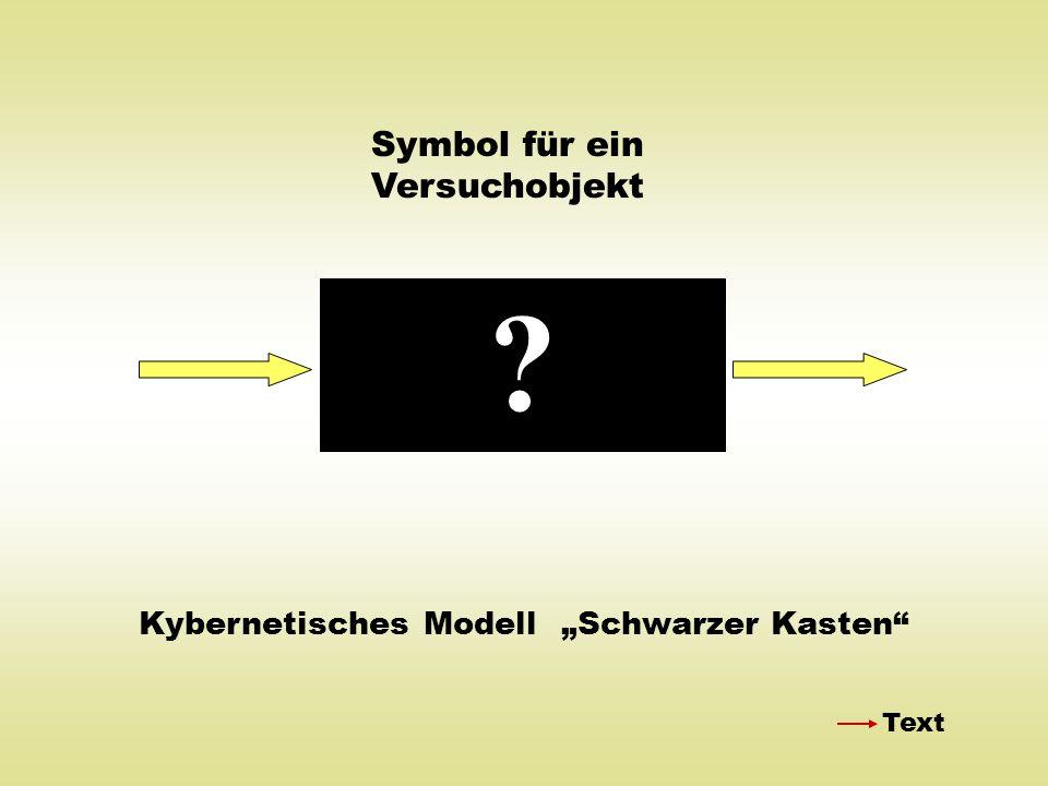 """Kybernetisches Modell """"Schwarzer Kasten"""" ? Symbol für ein Versuchobjekt Text"""
