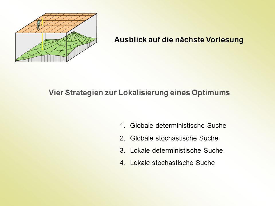Ausblick auf die nächste Vorlesung Vier Strategien zur Lokalisierung eines Optimums 1.Globale deterministische Suche 2.Globale stochastische Suche 3.L