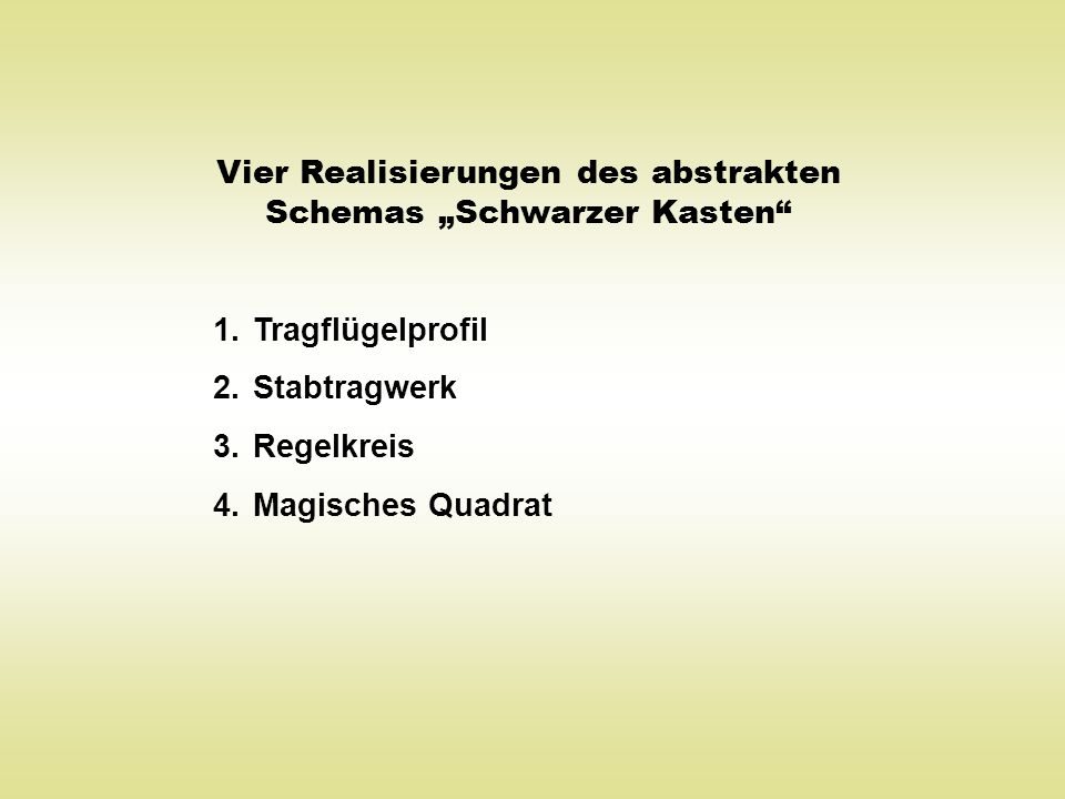 """Vier Realisierungen des abstrakten Schemas """"Schwarzer Kasten"""" 1.Tragflügelprofil 2.Stabtragwerk 3.Regelkreis 4.Magisches Quadrat"""