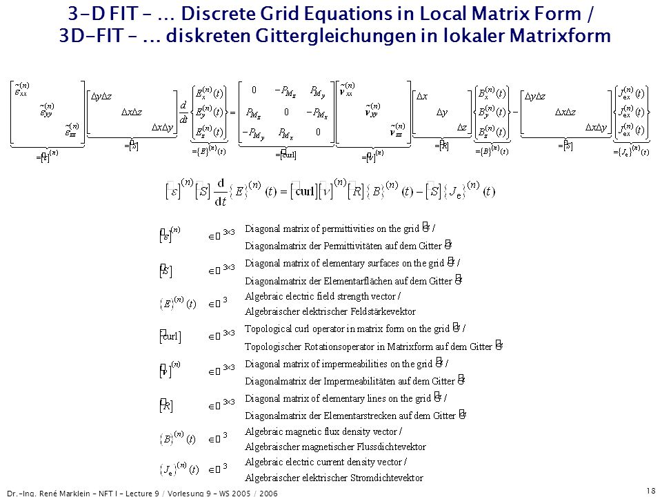 Dr.-Ing. René Marklein - NFT I - Lecture 9 / Vorlesung 9 - WS 2005 / 2006 18 3-D FIT – … Discrete Grid Equations in Local Matrix Form / 3D-FIT –... di