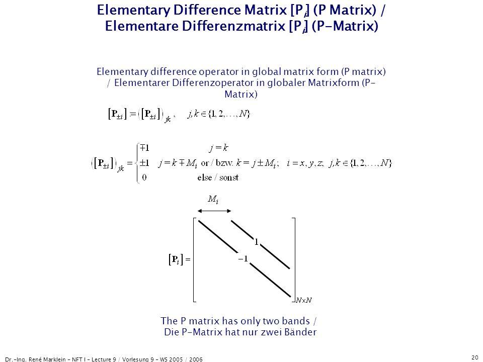 Dr.-Ing. René Marklein - NFT I - Lecture 9 / Vorlesung 9 - WS 2005 / 2006 20 Elementary Difference Matrix [P i ] (P Matrix) / Elementare Differenzmatr