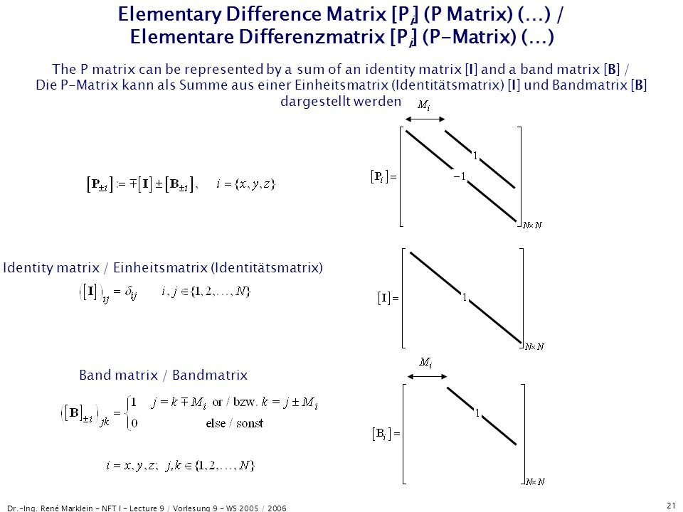Dr.-Ing. René Marklein - NFT I - Lecture 9 / Vorlesung 9 - WS 2005 / 2006 21 Elementary Difference Matrix [P i ] (P Matrix) (…) / Elementare Differenz
