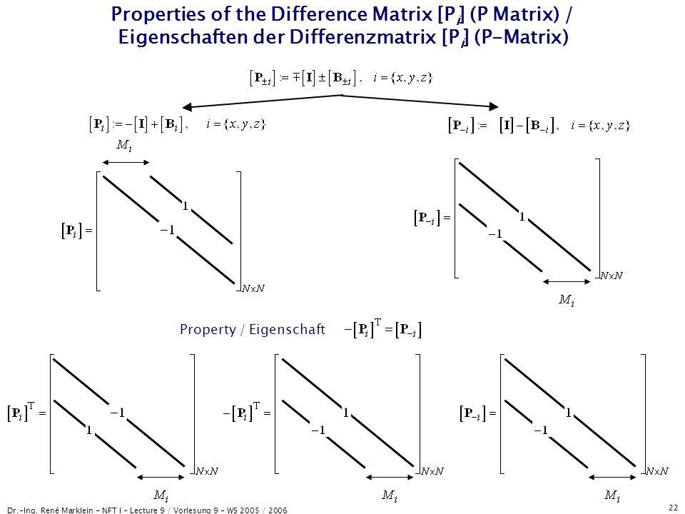 Dr.-Ing. René Marklein - NFT I - Lecture 9 / Vorlesung 9 - WS 2005 / 2006 22 Properties of the Difference Matrix [P i ] (P Matrix) / Eigenschaften der