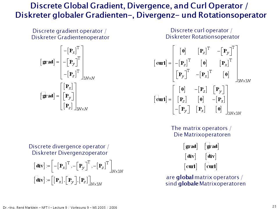Dr.-Ing. René Marklein - NFT I - Lecture 9 / Vorlesung 9 - WS 2005 / 2006 23 Discrete Global Gradient, Divergence, and Curl Operator / Diskreter globa