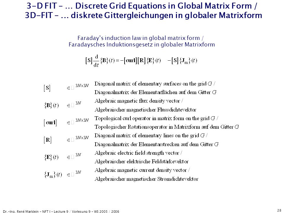Dr.-Ing. René Marklein - NFT I - Lecture 9 / Vorlesung 9 - WS 2005 / 2006 28 3-D FIT – … Discrete Grid Equations in Global Matrix Form / 3D-FIT –... d
