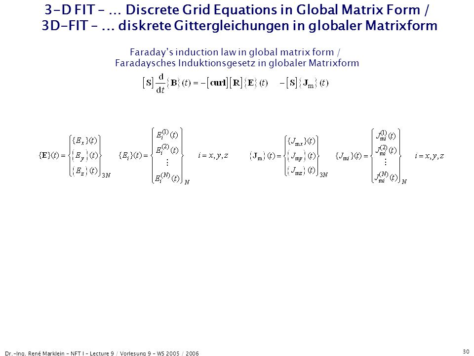 Dr.-Ing. René Marklein - NFT I - Lecture 9 / Vorlesung 9 - WS 2005 / 2006 30 3-D FIT – … Discrete Grid Equations in Global Matrix Form / 3D-FIT –... d