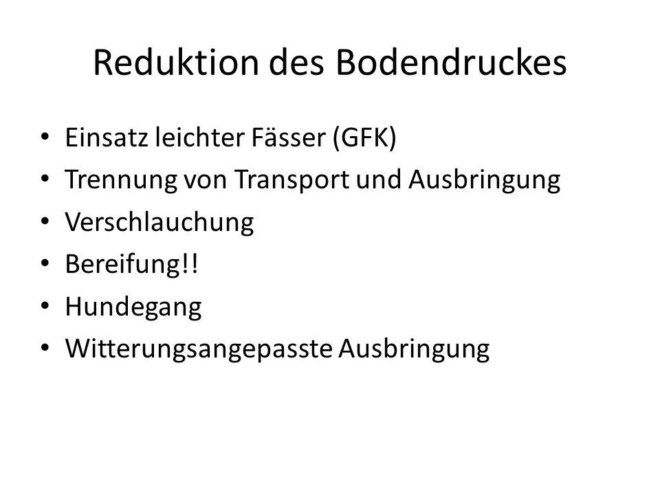 Reduktion des Bodendruckes Einsatz leichter Fässer (GFK) Trennung von Transport und Ausbringung Verschlauchung Bereifung!! Hundegang Witterungsangepas