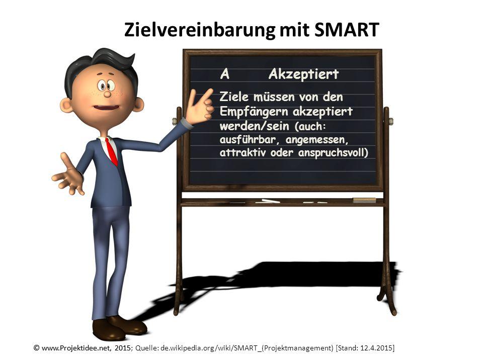 © www.Projektidee.net, 2015 Zielvereinbarung mit SMART © www.Projektidee.net, 2015; Quelle: de.wikipedia.org/wiki/SMART_(Projektmanagement) [Stand: 12.4.2015] RRealistisch Ziele müssen möglich sein.